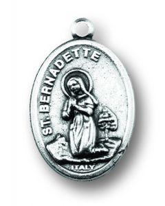 Our Lady of Lourdes/Saint Bernadette Oxidized Medal