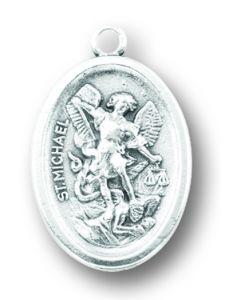Saint Michael Silver Oxidized Medal