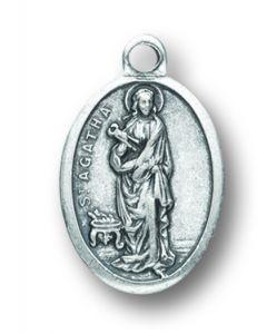 Saint Agatha Silver Oxidized Medal