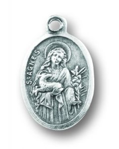 Saint Agnes Silver Oxidized Medal