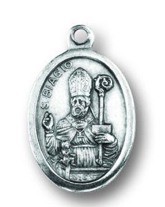 Saint Blaise Oxidized Medal