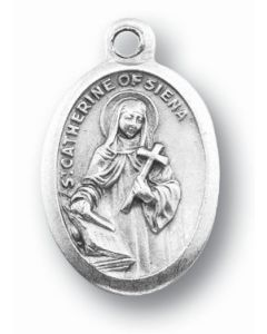 Saint Catherine of Siena Oxidized Medal