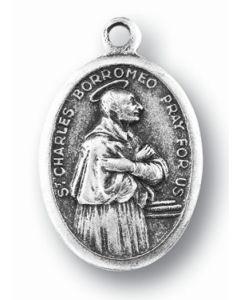Saint Charles Borromeo Oxidized Medal
