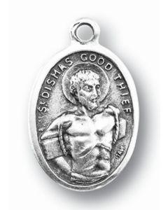 Saint Dismas Silver Oxidized Medal
