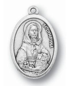 Saint Dymphna Oxidized Medal