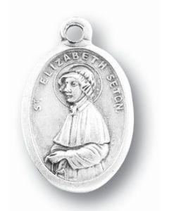 Saint Elizabeth Ann Seton Silver Oxidized Medal