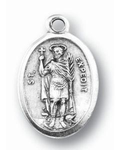 Saint Expedite Silver Oxidized Medal