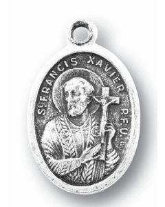 Saint Francis Xavier Silver Oxidized Medal