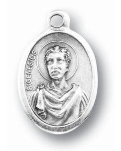 Saint Genesius Silver Oxidized Medal