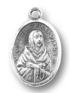 Saint Kateri Tekakwitha Oxidized Medal