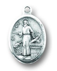 Saint Luke Silver Oxidized Medal