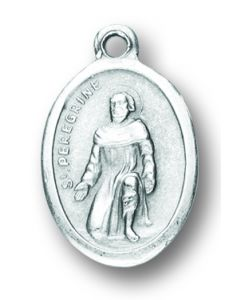 Saint Peregrine Oxidized Medal