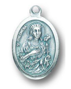 Saint Philomena Oxidized Medal