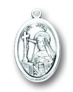 Saint Rita Oxidized Medal