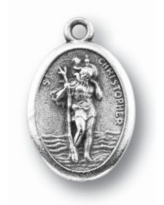 Saint Christopher Oxidized Medal