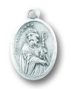 Saint Patrick Silver Oxidized Medal