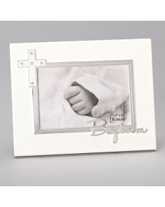 Baptismal Frame Silver with White Enamel