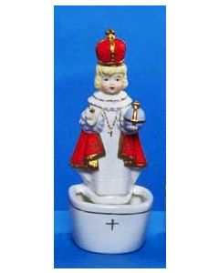 Infant of Prague Porcelain Holy Water Font