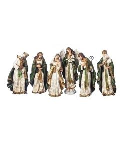 "Nativity green/gold 13.5"" 6pc"