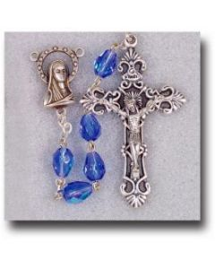 Rosary- Tear Drop Sapphire Aurora Borealis Beads