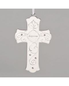 Baptism Cross White Enamel