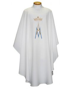 Chasuble with Embroidered AM with Crown