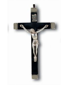 """Crucifix 5 1/2"""" Metal Bound Black with Silver Corpus"""