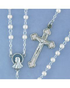 White Pearl Rosary with White Enamel Crucifix