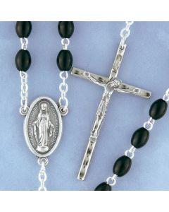 Black Oval Bead Rosary