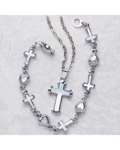 Mother of Pearl Cross Bracelet
