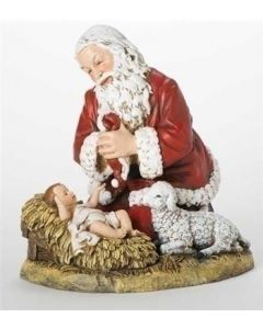 Kneeling Santa with Lamb