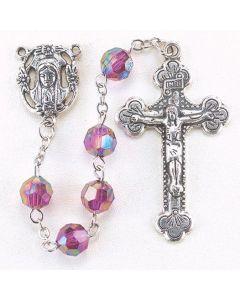 Amethyst  8mm Aurora Borealis Faceted Acrylic Birthstone Rosary