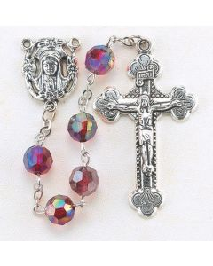 Garnet  8mm Aurora Borealis Faceted Acrylic Birthstone Rosary