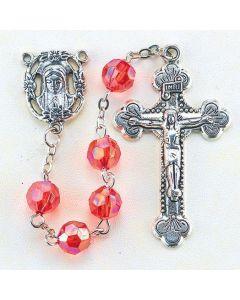 Ruby  8mm Aurora Borealis Faceted Acrylic Birthstone Rosary