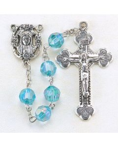 Aqua  8mm Aurora Borealis Faceted Acrylic Birthstone Rosary