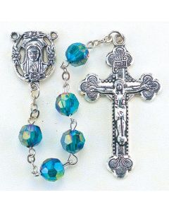 Emerald  8mm Aurora Borealis Faceted Acrylic Birthstone Rosary