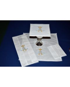 Lace Edged Mass Linen with Marian Symbol
