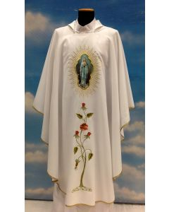 Chasuble White Lourdes