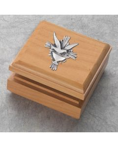 Maple Finish Hardwood Box with Pewter Chalice and Holy Spirit