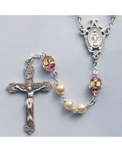 Pearl Rosary with Genuine Bohemian Light Amethyst Our Father Beads