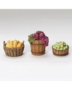 """3PCST 3""""BASKET ACCESSORIES FOR 7.5"""" NATIVITY FIG BREAD/APPLE/GRAPE"""
