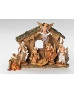 """7pc 5"""" Nativity with stone Stable"""