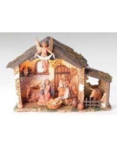 """6pc 5"""" Nativity with stone Stable"""