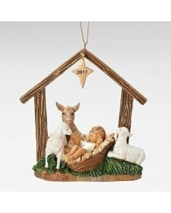 "4.5""BABE W/ANIMALS STABLE ORNAMENT"