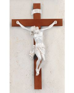 "28"" Wood Cross with White Corpus"