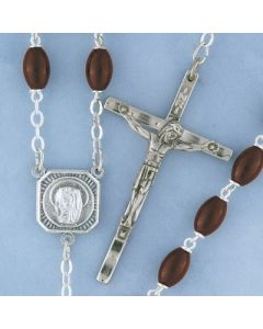 Rosary Brown Wood Oval