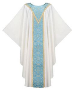 Chasuble Blue Venice with Galloon Yoke Neck