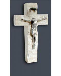Pewter Crucifix Holy Land stone