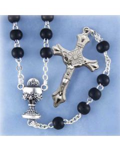 Black Glass Rosary with Communion Center
