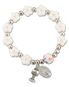 White Fimo Flower Rosary Bracelet